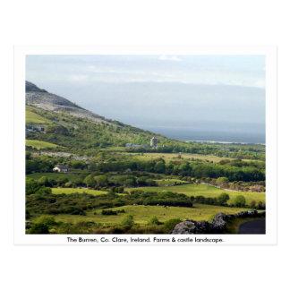 Postal Clare, Irlanda, cortijos y campos en Kilfenora