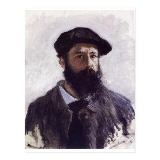 Postal Claude Monet - autorretrato en la boina 1886