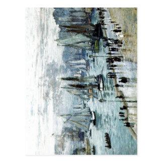 Postal Claude Monet, barcos de pesca que salen del