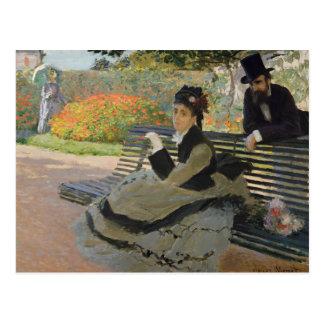 Postal Claude Monet - Camilo Monet en un banco