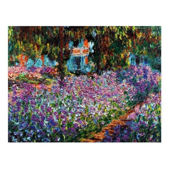 Postal Claude Monet: Iris en el jardín de Monet
