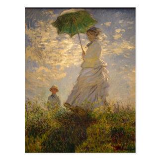 Postal Claude Monet: Mujer con un parasol, 1875. Nacional