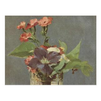 Postal Clavo y clematis en un florero cristalino - Manet