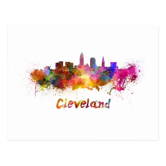 Postal Cleveland skyline in watercolor