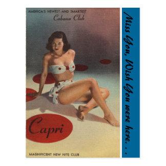 Postal Club de la cabaña de Nueva York, Capri, club de