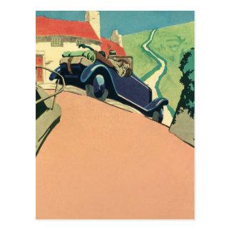 Postal Coche convertible del vintage en una carretera