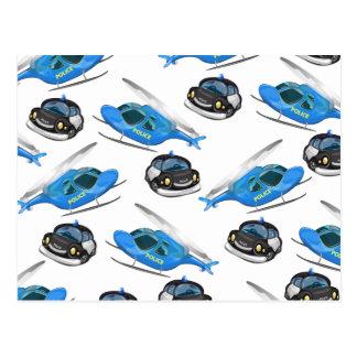 Postal Coche policía y helicóptero