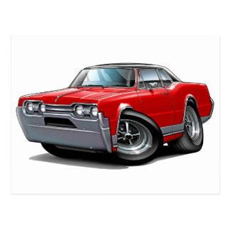 Postal Coche Rojo-Negro 1967 del machete de Olds