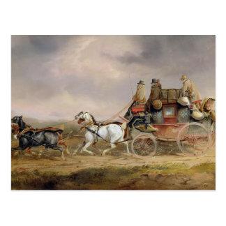 Postal Coches de correo en el camino: El Louth-Londres M