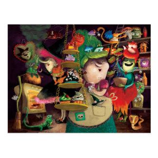 Postal Cocina de las brujas de Halloween