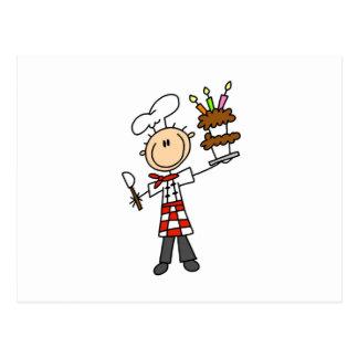 Postal Cocinero con la torta de cumpleaños