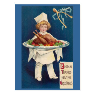Postal Cocinero con Turquía en el disco y Wishbone