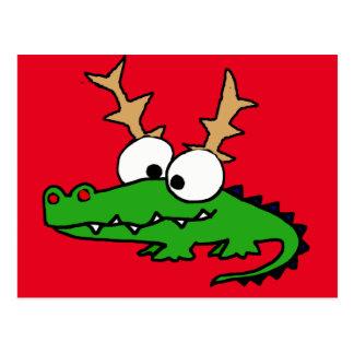 Postal Cocodrilo divertido con arte del navidad de las