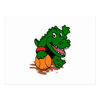Postal Cocodrilo que juega a baloncesto