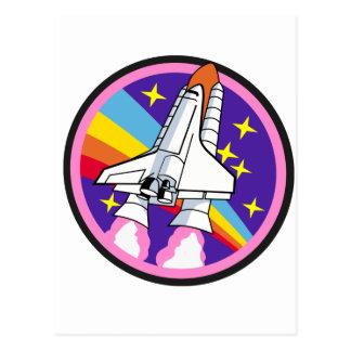 Postal cohete del arco iris del rosa del remiendo de la