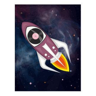 Postal Cohete musical violeta en espacio exterior