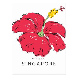 POSTAL COLECCIÓN DEL HIBISCO DE SINGAPUR