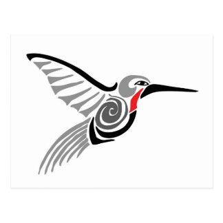 Postal colibrí rojo del gris del garganta-ed
