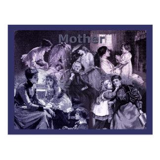 Postal Collage de las madres y de los niños del vintage