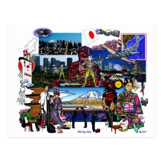 Postal Collage del archipiélago japonés de Japón