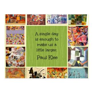 Postal Collage del arte de Paul Klee con la cita