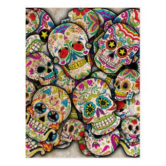 Postal Collage del cráneo del azúcar