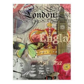 Postal Collage del viaje del vintage de Londres