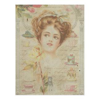 Postal Collage lamentable del marco de señora Elegant