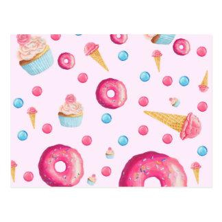 Postal Collage rosado del buñuelo