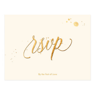 Postal COLOR de PixDezines RSVP/FAUX GOLD/FUN SCRIPT/DIY
