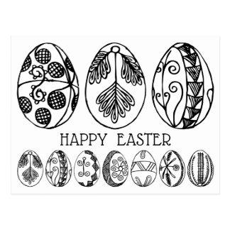 Postal Coloree su propia Pascua dibujada mano Pascua