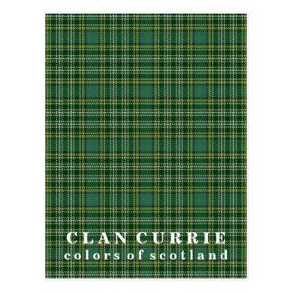 Postal Colores del tartán de Currie del clan de Escocia