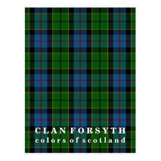 Postal Colores del tartán de Forsyth del clan de Escocia