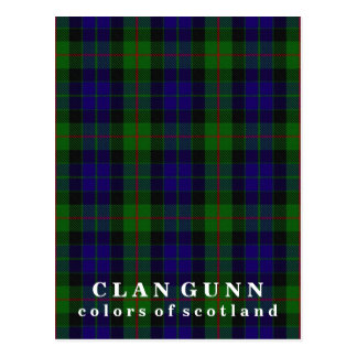 Postal Colores del tartán de Gunn del clan de Escocia