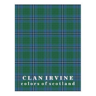 Postal Colores del tartán de Irvine del clan de Escocia