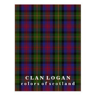 Postal Colores del tartán de Logan del clan de Escocia