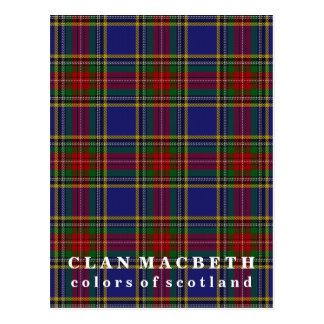 Postal Colores del tartán de Macbeth del clan de Escocia