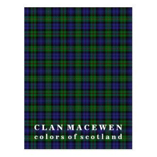 Postal Colores del tartán de MacEwen del clan de Escocia