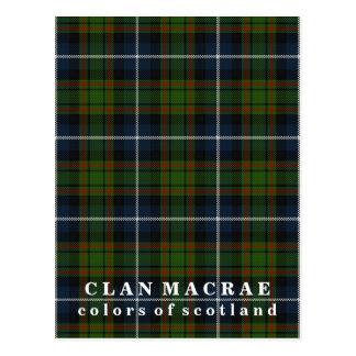 Postal Colores del tartán de MacRae del clan de Escocia