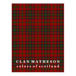 Postal Colores del tartán de Matheson del clan de Escocia