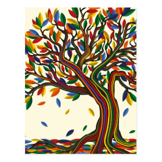 Postal Colorful rainbow tree with bright colors