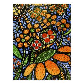 Postal colorida abstracta del arte de la flor y de
