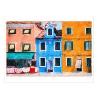 Postal colorida de Burano Italia de la ciudad
