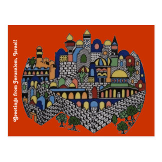 Postal colorida de Jerusalén