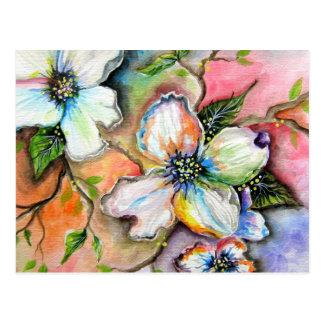 Postal colorida de la magnolia