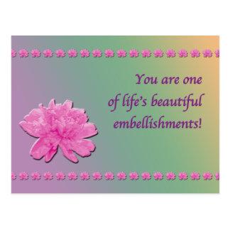 Postal colorida de los adornos del clavel