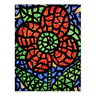 Postal colorida del arte de la flor roja abstracta