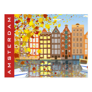 Postal colorida del otoño del canal de la ciudad