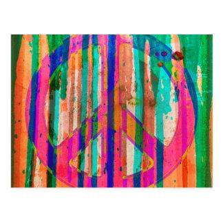 Postal colorida del signo de la paz