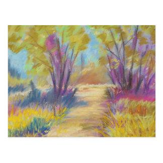 Postal colorida en colores pastel del paisaje